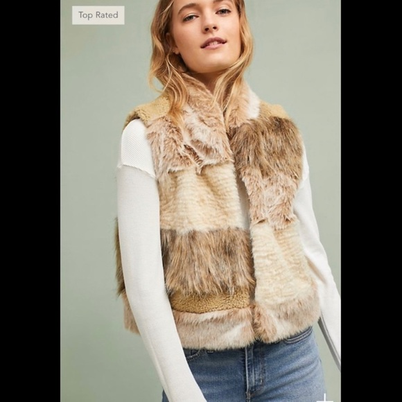 Anthropologie Jackets & Blazers - Anthropologie Mixed Faux Fur Vest